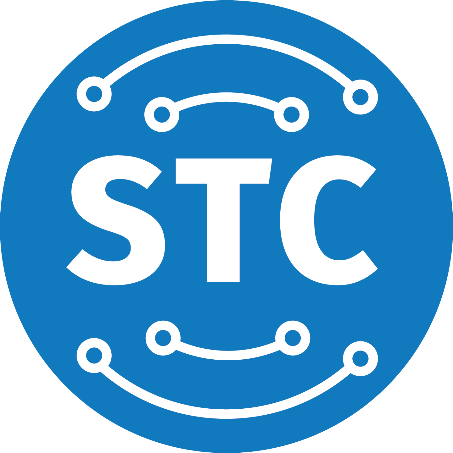 Graphic of the Student Technology Center Logo - a blue circle with white lines and the letters STC