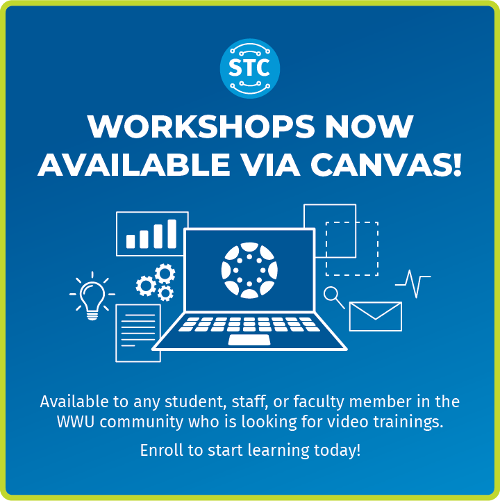 Graphic with words: Workshops now available via Canvas.  Video lessons available to all in the WWU community.