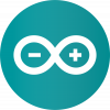 Arduino logo, a teal circle with a white infinity symbl containing - and +